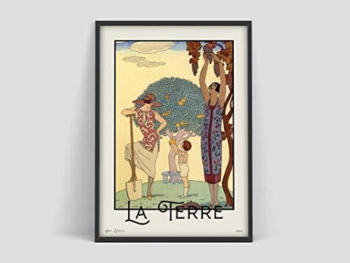 Póster de George Barbier La Terre, Vintage Museum Art, arte francés, impresión Art Deco, arte francés, lienzo sin marco Q 60x80cm