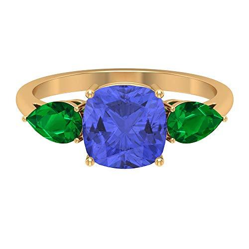 Rosec Jewels 14 quilates oro amarillo cojín pera Blue Green Tanzanite Emerald