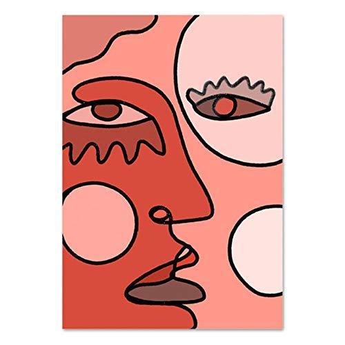 Creatieve Canvas Schilderijen Abstract Kubisme Gezicht Tekening Foto's Muurschildering Poster Print voor Woonkamer Huisdecoratie 40x60cmx1 ongekaderde