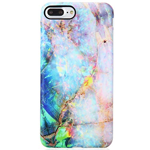 iPhone 7 Plus Case,iPhone 8 Plus Case,VIVIBIN Cute Blue Green Gold Opal Marble for Women Girls,Clear Bumper Soft Silicone Rubber Matte TPU Best Protective Cover Slim Fit Phone Case for iPhone 7/8 Plus