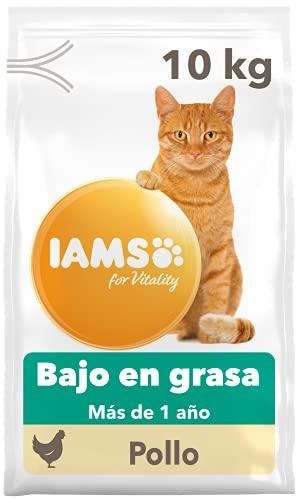 IAMS for Vitality Bajo en grasa - Alimento seco para gatos adultos y de edad avanzada (más de 1 año) con pollo fresco, 10 kg