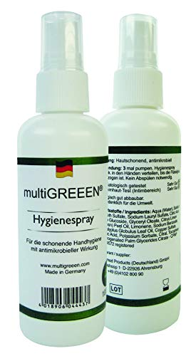 Handreinigung multiGREEEN Hygienespray 100 ml - Anti-Bakterielle Wirkung - ohne Alkohol, Vegan - Made in Germany