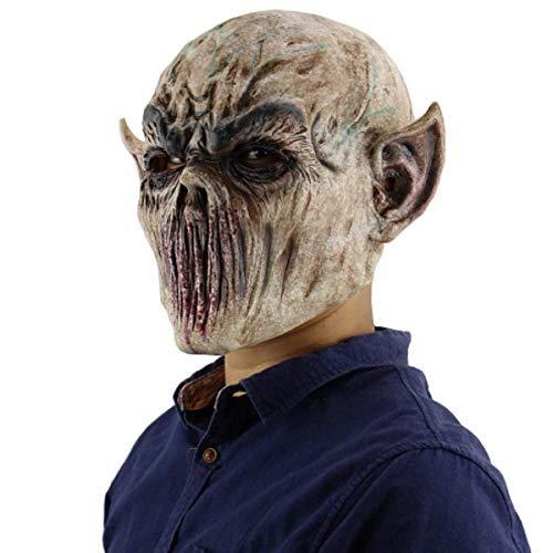 Máscara de Halloween de miedo, máscara de monstruo de horquilla, máscara de terror de zombi orco, máscara de monstruo sangriento, máscara de cabeza de demonio espeluznante horrible, disfraz de asesino de alienígenas, accesorios de fiesta de cosplay malvado, máscara de látex realista