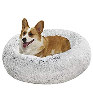 Zerohub Calming Dog Bed, Ultra Soft Faux Fur Donut Cuddler Dog Bed with Anti-Slip & Waterproof Base, Machine Washable Round Pet Bed for Small Medium Dogs and Cats (Multiple Sizes)