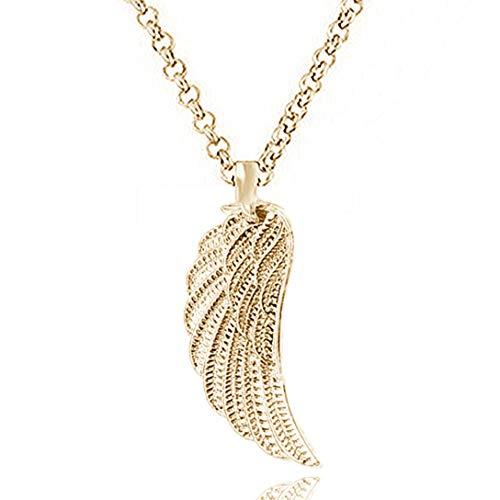 Engelsflügel Kette Schutzengel Feder flügel ohne Zirkonia Strass Lange Kette 70 cm mit Anhänger Set Halsketten für Damen Akki Gold