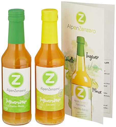 AlpenZenzero Geschenkpackung Ingwersirup - Zitrone und Limette/Minze, 2 x 250 ml