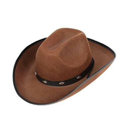 Fun Central Felt Studded Cowboy Hat Party Favor Supplies - Brown