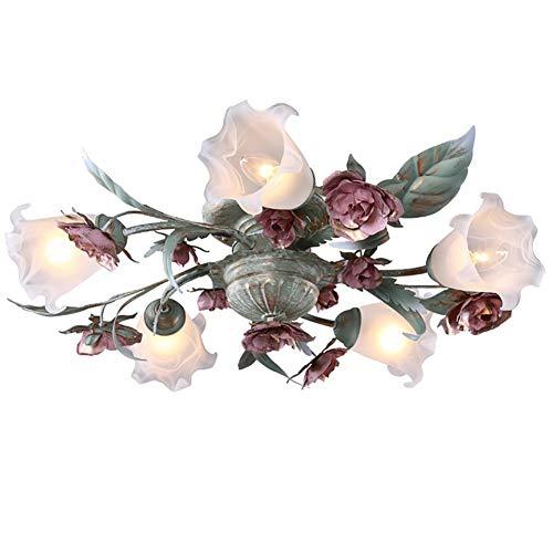 Florentiner Blumen form Deckenleuchte, Antike Landhaus Stil LED Deckenlampe, Pinke Metall Rose Glasschirme Design, Kronleuchter für Wohnzimmer Schlafzimmer, Ø68CM 5-flammig (Inkl. LED-Dimmung Birne)