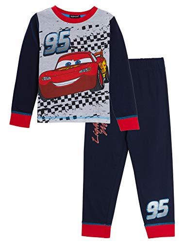 Disney Cars Schlafanzug für Jungen, Lightning McQueen, Nachtwäsche Gr. 5-6 Jahre, grau