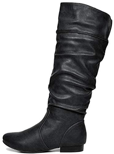 DREAM PAIRS Women's BLVD Black PU Knee High Pull On Fall Weather Boots Wide Calf Size 8 US/ 6 UK