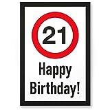 DankeDir! Placa de plástico con texto 'Happy Birthday', regalo de 21 cumpleaños, idea de regalo de cumpleaños, decoración para fiestas, accesorios, tarjeta de cumpleaños