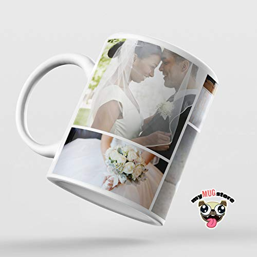 Thomas655 Benutzerdefinierte Fotocollage Tasse Hochzeitsbecher Braut Kaffeebecher Personalisierte Kaffeetasse Familienfoto Becher Hochzeit Collage