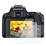 KOMET Protector de pantalla para Canon EOS 250D Rebel SL3 200DII [3 unidades], vidrio templado Flim antiburbujas, antihuellas, antiarañazos, antipolvo, antiarañazos.