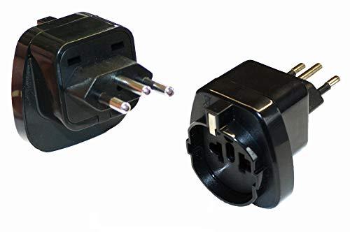 2X Reisestecker Adapter für Brasilien TYP N - mit Schutzkontakt | Langlebiger Netzstecker für Steckdosen im Ausland | Qualitativ hochwertiger Stromadapter