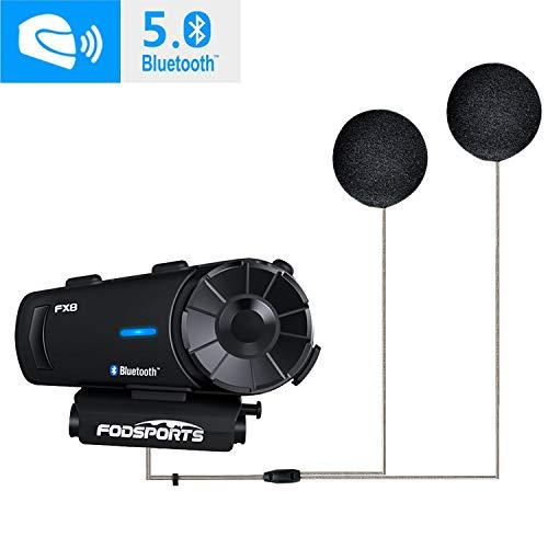Fodsports FX8 Bluetooth Headset Motorradhelm Intercom, Motorrad Kommunikationssystem 8 Fahrer Gruppe Intercom mit FM Radio, Rauschunterdrückung, Sprachbefehle (1 Pack)