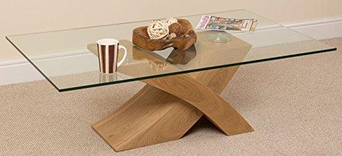 Milano Stylish Glass and Wood Coffee Table | Modern X Shaped Cross Base Low...