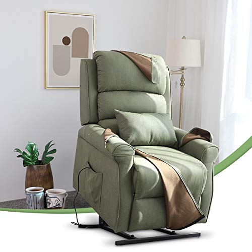 Power Massage Lift Armchair Lounge Seat, Padded Sofa Chaise Recliner Chair with Tilt Function and Extended Footrest, Soft Breathable Fabric, Remote Control, 2 Side Pockets for Elderly,Green,A