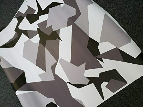 SignSomething White Geometric Camouflage Vinyl Wrap, Matte, Vehicle Wrap for Car, Truck, Boat