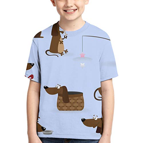 YudoHong Camisetas para niños Sausage Dog Funny Big and Tall T-Shirt