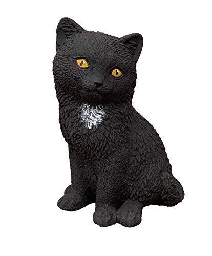 Stone and Style Statuette chat noir Morle en pierre résistante au gel et aux intempéries