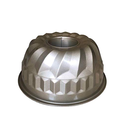 9 inch Bundt Cake Pan Nonstick Fluted Tube Bakeware Heavy Duty Stainless Carbon Steel for Oven Baking Pan Gold