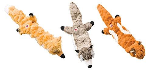 Ethical Pets Mini Skinneeez Extreme Stuffingless Dog Toy Bundle: Chipmunk, Raccoon and Fox