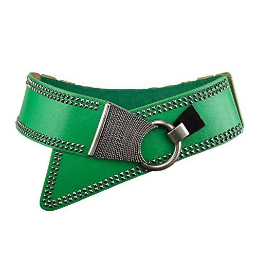 Fashion Vintage Green Wide Waist Belt Elastic Stretch Cinch Belts With Interlock Buckle for Women