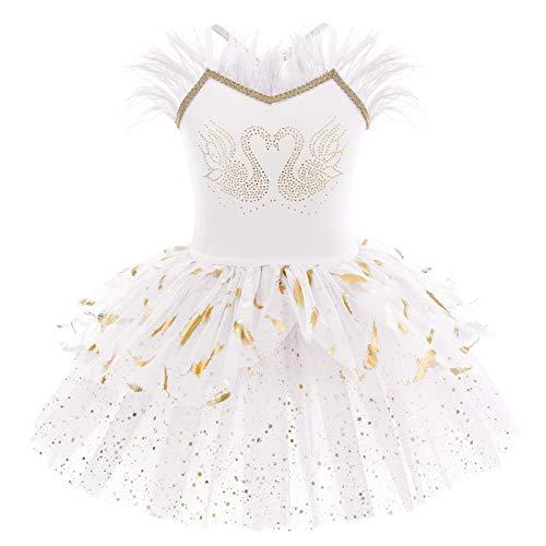 IMEKIS Mädchen Ballett Tanzkleid Ärmellose Prinzessin Schwan Ballerina Dancewear Gymnastik Trikot Tutu Glänzend Rüsche Tüll Rock Athletisch Kostüm Weiß 01 7-8 Jahre