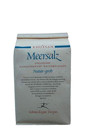 Khoysan Meersalz grob 1kg | unjodiert | für Salzmühle geeignet | ohne Rieselhilfe | unbehandelt & handgeschöpft | ausgezeichnet von Gourmets |1kg Nachfüllbeutel