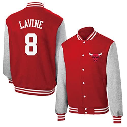 UIQB Zach LaVine Baloncesto Top Jackets - Chicago Bulls 8# Classic Retro Baseball Camisa para Mujeres y Hombres Black Mamba Baloncesto Sworkman Sweatshirt S - 3XL Red-XXXL