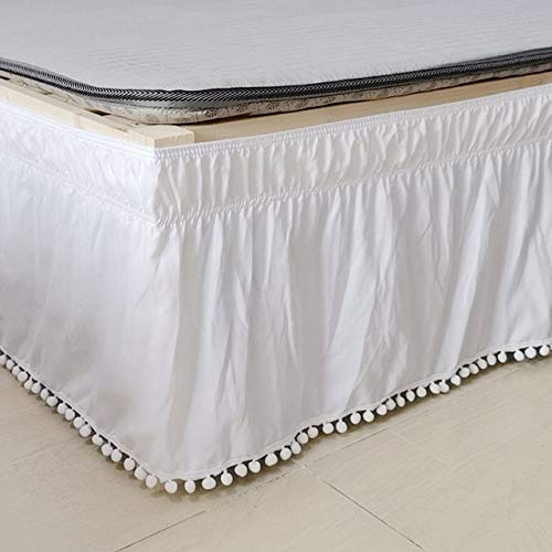 HUATU Falda de Cama Camisas de Cama elásticas envolventes Blancas sin Superficie de la Cama Faldas de Cama Twin/Full/Queen/King 40cm de Altura Uso doméstico en hoteles