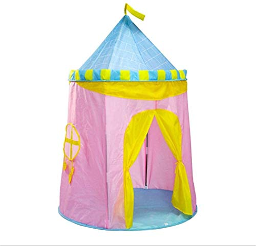 ZZXXB Homemper Tent, children's tent Children's tent, children's yurt tent, children's castle, blue, pink, birthday present, indoor/outdoor, toy room, safe and non-toxic (Blue) Judith (Color : Pink)