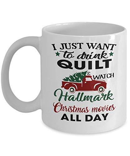 Tazza da cucito con scritta  I Just Want to Watch Hallmark per tutto il giorno, con scritta in lingua inglese  I Just Want to Watch Films  (lingua italiana non garantita)