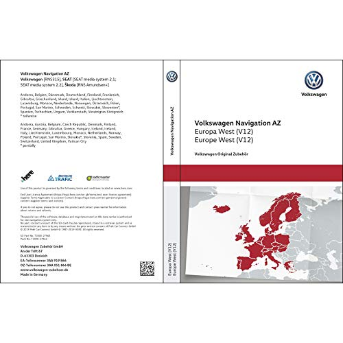 Volkswagen 3AA051866BE Original SD-Karte Navigation V12 Europa West RNS 315 Navigationssystem AZ Navi Software VW Update