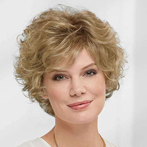 Nora WhisperLite Wig by Paula Young - Short, Volume-Rich Layers Of Soft, Feathery Waves/Multi-tonal Shades of Blonde, Silver, Brown, and Red