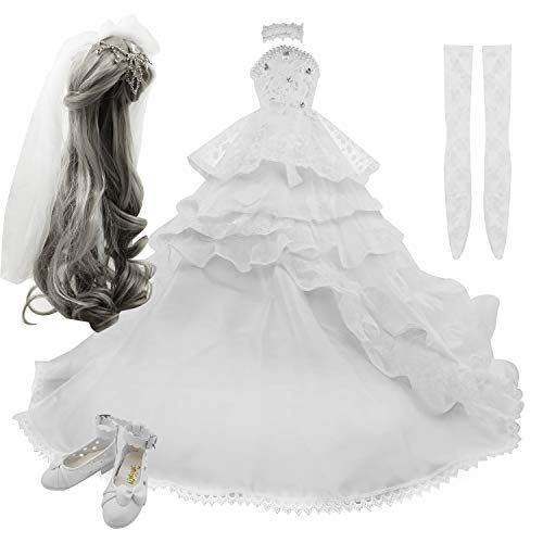 Set di parrucche di gonna Scarpe Calze Accessori Set completo per 1/3 BJD Dolls Bambole snodate a sfera 21-23 pollici 60 cm (White)