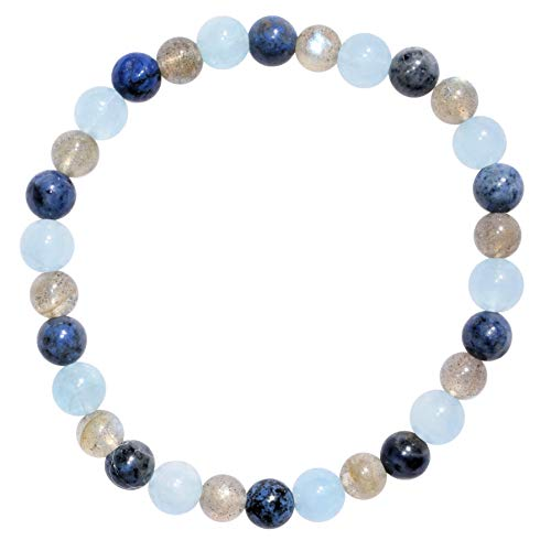 Zenergy Gems Charged Natural Aquamarine & Dumortierite & Labradorite Crystal 6mm Bead Bracelet + Selenite Charging Heart [Included]