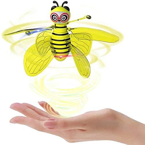 Mini Bee Drone, Biene Drohnen Geste Sensor Flugzeug, Interaktion Geschenk Indoor Outdoor-Spiele für Kinder Kinder, ABS-Kunststoff (Gelb)