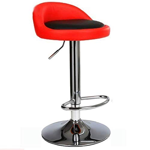 Round Stools Bar Chairs, European 360° Swivel Height Lift Adjustable, Synthetic Leather Metal Foot Suitable for Bar Counter Coffee Shop Gameroom,redontheback