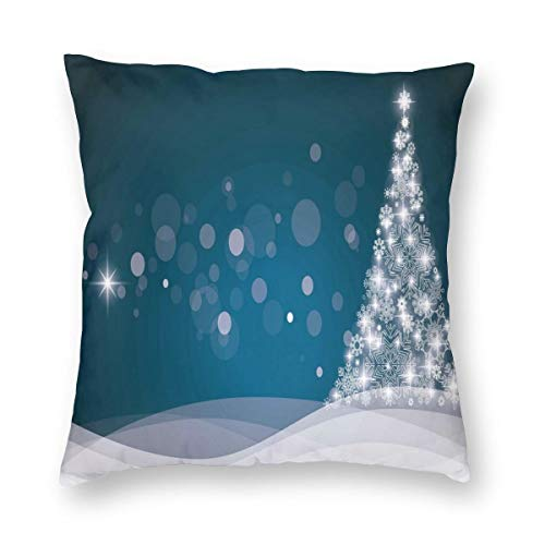 ZUL 3D Print Throw Pillow Covers,Fantasy Backdrop Abstract Xmas Tree Dreamlike Snowflakes Dots Wintertime,Decorative Square Cushion Covers Case for Sofa Couch Home Decor