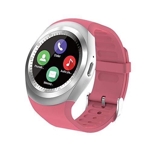 Smartwatch Orologio Fitness Uomo Donna Bambini Smart Watch con SIM Card Slot Orologio Contapassi e Calorie da Polso Sportivo Smart Band Fitness Tracker per ios Android Samsung Huawei Xiaomi (Rosa)