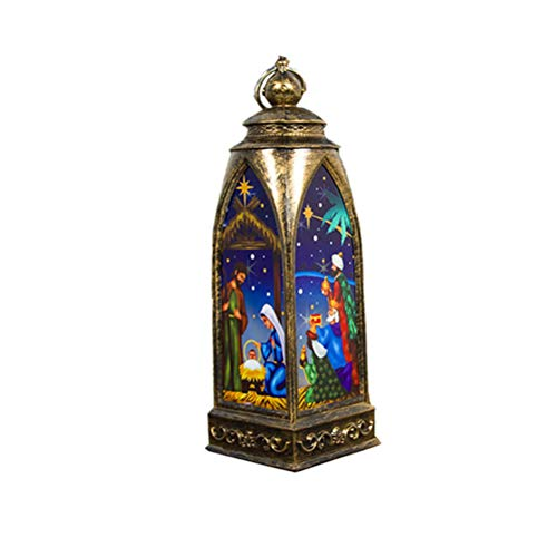 OSALADI Weihnachtslaterne Vintage Nachtlicht Weihnachten Lampe Retro Laterne Weihnachten Jesus Kirche Dekoration (Bronze)