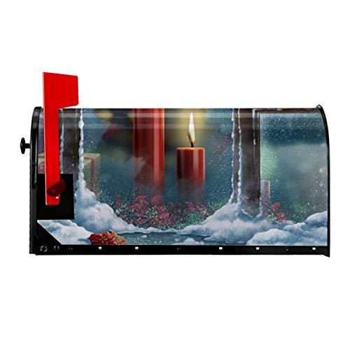 Odeletqweenry rode kaars branden door venster print mailbox cover magnetische mailbox wraps post brievenbus cover standaard grootte 21 x 18 inch waterdichte canvas mailbox cover