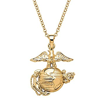 Palm Beach Jewelry 14K Yellow Gold Plated Marines Pendant  25mm  with 20 inch Chain