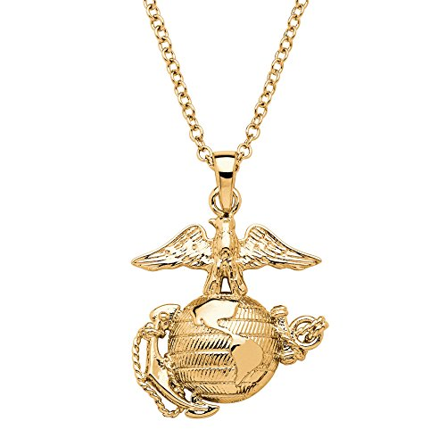 Palm Beach Jewelry 14K Yellow Gold Plated Marines Pendant (25mm) with 20 inch Chain
