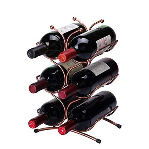 Estantes de Vino de 6 Botellas Soporte de Botella de Vino Estante de Almacenamiento de Vino Gratis Hierro, Sala de Estar Cocina Hogar Estante de Almacenamiento de Hierro en la Mesa, DTTX001