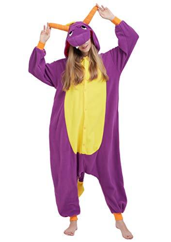 Jumpsuit Onesie Tier Karton Fasching Halloween Kostüm Sleepsuit Cosplay Overall Pyjama Schlafanzug Erwachsene Unisex Lounge Kigurumi Lila Drache for Höhe 140-187CM