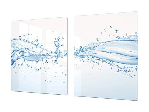 Gigante Tabla para picar de cristal templado o cubre vitro – Salvaencimera – Resistente a golpes y arañazos – UNA PIEZA (80 x 52 cm) o DOS PIEZAS (40 x 52 cm) Serie de Agua DD10