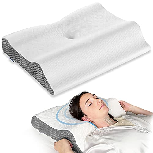 Elviros Cervical Pillow for Neck Pain, 2 in 1 Memory Foam Contour Supports Sleeping Pillows for Side, Stomach, Back, Sleepers, Ergonomic Orthopedic...