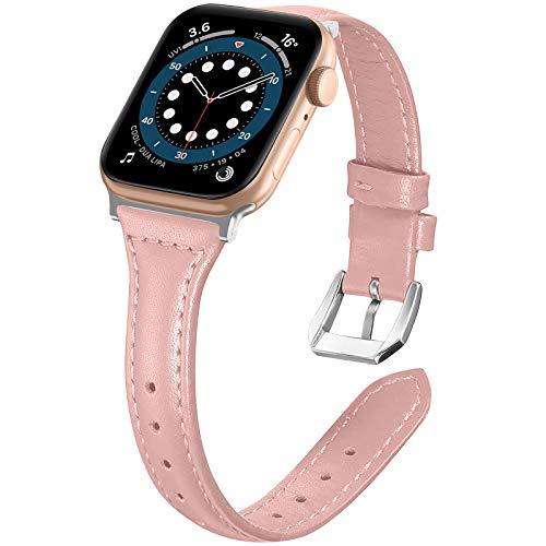 LORDSON Leder Armband Kompatibel mit Apple Watch 42mm 44mm Armbänder, 5.5